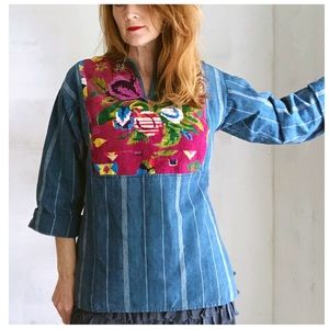 VTG 70s Indigo Embroidered Tunic Blouse Floral
